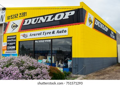 Ararat, Australia - October 21, 2017: Dunlop is a tyre brand owned by Goodyear Tire and Rubber Company. This Dunlop store is in Ararat.