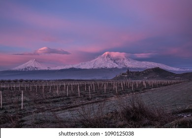 Ararat mountain at sunrise with Khor Virap ancient foretress and church. Concept of travel, freedom and roadtrip. Sunrise over Ararat mountain in Armenia .