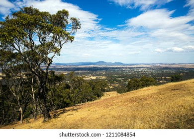 ARARAT, VICTORIA, AUSTRALIA - 05 DECEMBER 2015: Veiw from One Tree Hill looking out over the Wimmera township of Ararat in summer towards a distant Mount Langhi Giran.