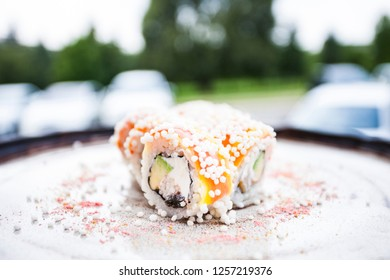 Arare roll with toucan and ginger