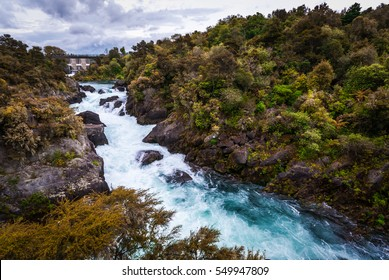 Aratiatia Rapids on the Waikato River after the spill gates of the hydroelectric dam at the top of the narrow gorge have been opened.