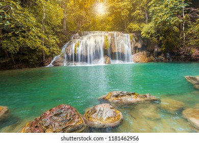 Arawan water fall in thailand. It is the most beautiful waterfall in Thailand.