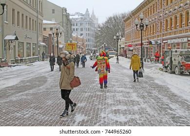Arbat street in winter, Moscow, Russian Federation Picture taken in January 2016 in arbat Street in Moscow, Russian Federation