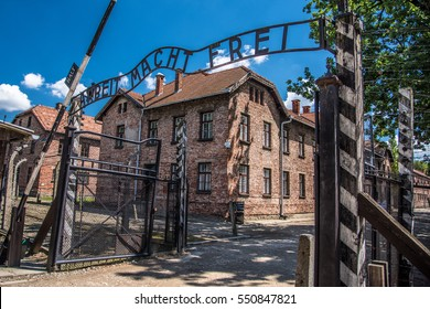 Arbeit macht frei in Auschwitz Poland during the holocaust. Concentration camp in Auschwitz Birkenau controlled by the nazis of the NSDAP in Germany during world war II.