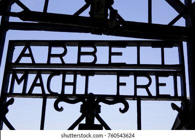 "Arbeit Macht Frei, ""Work will make you free"" on the KZ-Gedenkstaette Dachau, Dachau Concentration Camp Memorial Site near Munich, Jourhaus, Main Camp Gate, Bavaria, Germany, Europe, 5. May 2014"
