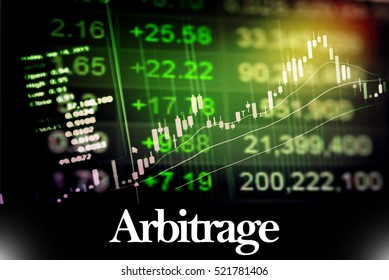 Arbitrage - Abstract digital information to represent Business&Financial as concept. The word Arbitrage is a part of stock market vocabulary in stock photo