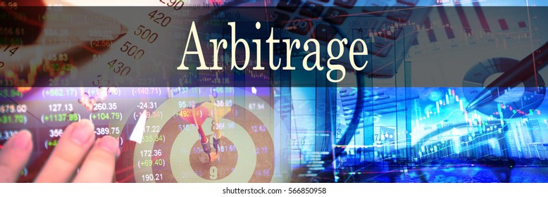 Arbitrage - Hand writing word to represent the meaning of financial word as concept. A word Arbitrage is a part of Investment&Wealth management in stock photo.