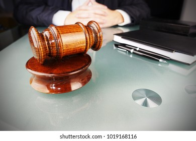 Arbitration concept with arbitrator or judge holding gavel