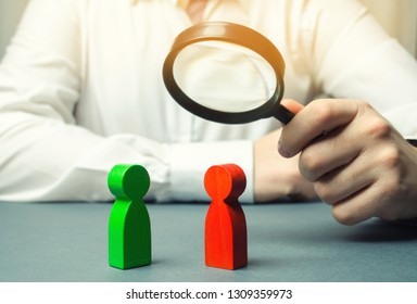 The arbitrator examines the conflict situation between people. Search for solutions and compromises. Conflict of interest. Smoothing disputes. Court and law. Justice. Verdict. Legal support