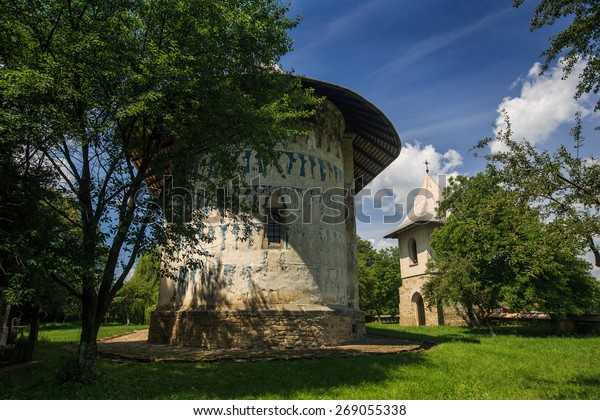 Arbore church, one of the six painted churches in northern Moldavia (Romania) listed as UNESCO monuments