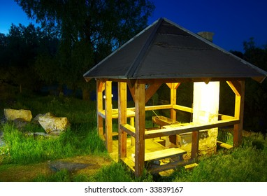 arbour in the summer night at the Altay tourist camp