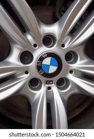 Arbroath, Scotland - 16th April 2018: A Close up of the Badge on the Alloy wheels of a BMW 5 Series Station Wagon in Angus, Scotland.