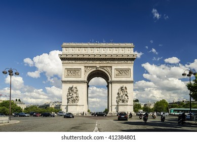Arc de Triomphe against nice blue sky, Paris, France, Europe