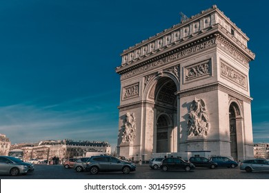 Arc de triomphe or Arch of Triumph in Paris afternoon, France