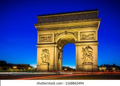 Arc de Triomphe, Blue Hour, Paris, France