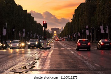 Arc de Triomphe and champ Elysees at sunset, Paris, France