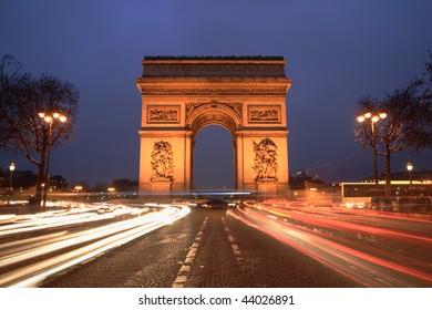 Arc de Triomphe & champs elysees, Paris, at night