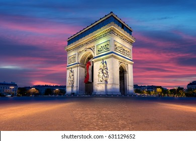 Arc de Triomphe and Champs Elysees, Landmarks in center of Paris, at sunset. Paris, France.