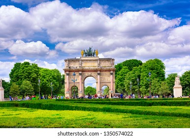 Arc de Triomphe du Carrousel  is a triumphal arch in Paris, located in the Place du Carrousel. Cityscape of Paris. Architecture and landmarks of Paris.