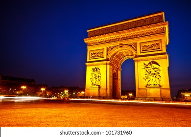 Arc de Triomphe de l'Etoile on dusk, Paris