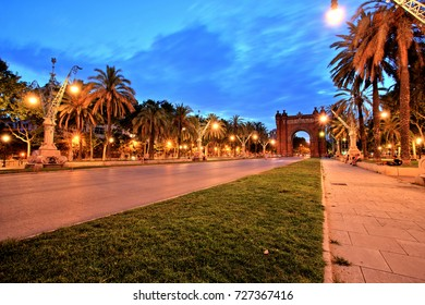 Arc de Triomphe in Parc de la Ciutadella at dusk, Barcelona