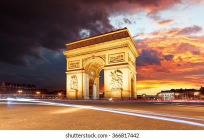 Arc de triomphe Paris city at sunset