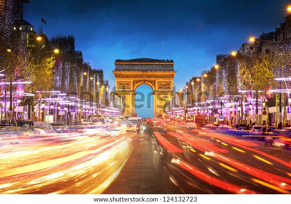 Arc de triomphe Paris city at sunset - Arch of Triumph and Champs Elysees