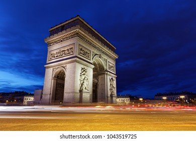 Arc de Triomphe, Paris, France - March 11, 2018: Arc de Triomphe in Paris at blue hours