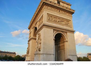 arc de triomphe in Paris France during sunset or golden hour