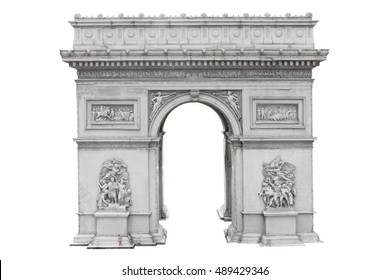 Arc de Triomphe, Paris, France isolated on white background with clipping path