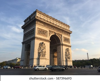 Arc De Triomphe in Paris France on a Sunny Summer Sunset Day