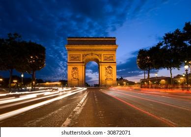 Arc de Triomphe of Paris, seen from Champs Elysees