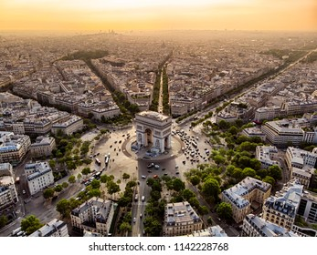Arc de Triomphe in Paris at sunrise