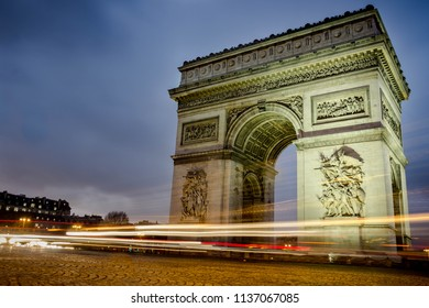 Arc de Triomphe, Street view in Paris by Night