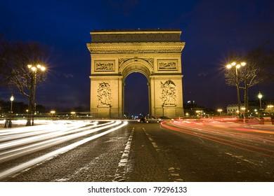Arc de Triumph in the night, Paris, France