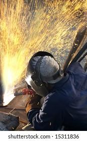 a arc welder busy at work