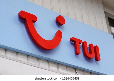 Arcachon , Aquitaine / France - 10 08 2019 : Tui logo on store wall sign office german travel agency