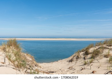 Arcachon Bay, France. The dune of Pilat in front of the sandbank of Arguin