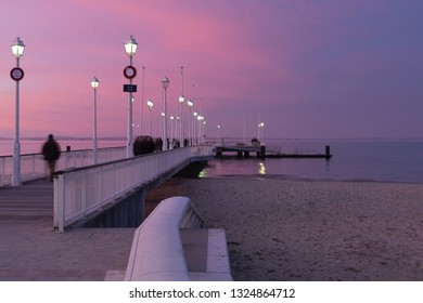 ARCACHON, FRANCE, 2018:  Arcachon is a renowned seaside resort town in southwest France that's known for oyster harvesting.