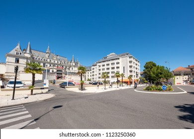 ARCACHON, FRANCE, JUNE 23, 2018: view of the 'beach boulevard' and its casino in Arcachon, a famous seaside resort of France.