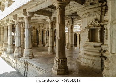 Arcade in famous Jain temple (Adinatha temple) in Ranakpur, Rajasthan, India
