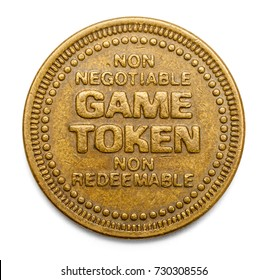Arcade Video Game Token Isolated on White Background.