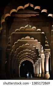Arcades of Red Fort, also called Lal Qila at night in Delhi India. Detail of Indian architecture of the Mughal dynasty