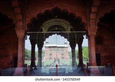 Arcades of Red Fort, also called Lal Qila at night in Delhi India. Detail of Indian architecture of the Mughal dynasty. Interior view of Red Fort or Lal Qila