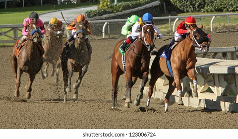 """ARCADIA, CA - DEC 26: Rafael Bejarano (black cap) and """"Book Review"""" move up on the far turn to overtake the lead horses and win The La Brea Stakes at Santa Anita Park on Dec 26, 2012 in Arcadia, CA."""