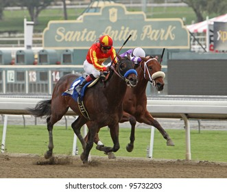 ARCADIA, CA - FEB 19: Jockey Martin Garcia (orange/yellow cap) and Drill run down Martin Pedroza and American Act to win The San Vincente Stakes at Santa Anita Park in Arcadia, CA, on Feb 19, 2012.
