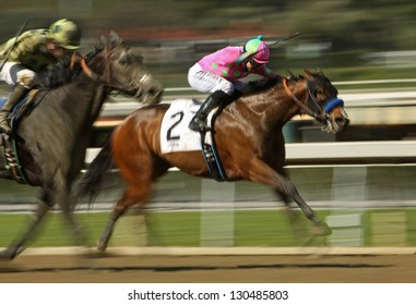 "ARCADIA, CA - FEB 23: Jockey Joseph Talamo and ""Splendid Fortune"" compete in an allowance  race at Santa Anita Park on Feb 23, 2013 in Arcadia, CA."