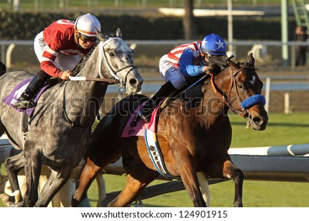 "ARCADIA, CA - JAN 12: Hall of Fame Jockey Mike Smith (blue cap) and ""Fed Biz"" outrun Corey Nakatani and ""Tritap"" to win The San Fernando Stakes at Santa Anita Park on Jan 12, 2013 in Arcadia, CA."