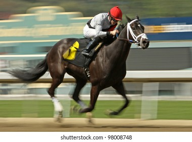 """ARCADIA, CA - MARCH 15: Jockey Joe Talamo pilots """"All Squared Away"""" to a 2nd place finish in an allowance race at Santa Anita Park on March 15, 2012 in Arcadia, CA."""