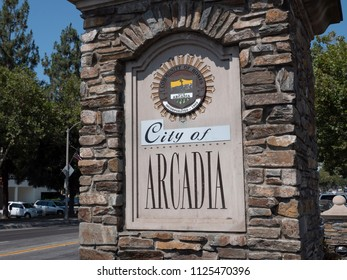 Arcadia , California, UNITED STATES - July 6, 2017. Entrance sign to the city of Arcadia, California. Taken in the afternoon.